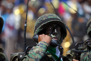 Ecuadorian army soldier with radio