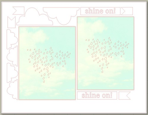 rainy sky & clouds - free card kit cut file for 2 A2 size cards