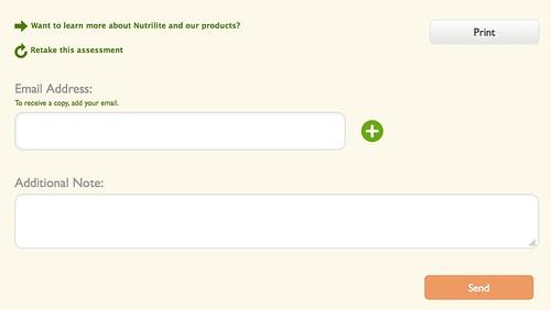 NUTRILITE® Supplement Recommender end of test