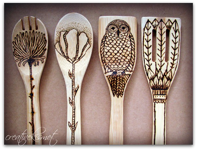 wood spoon art by Regina Lord