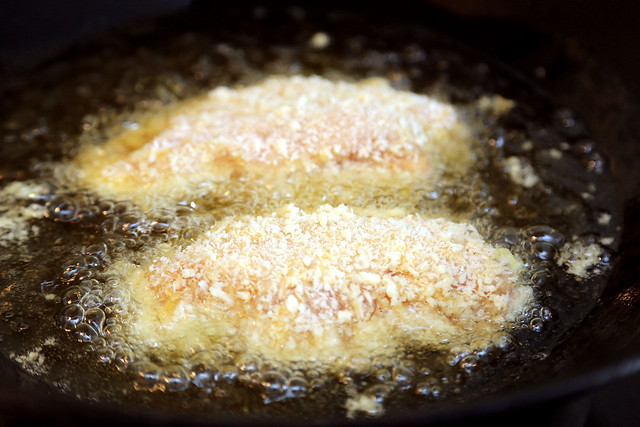 Deep-fry the breaded chicken