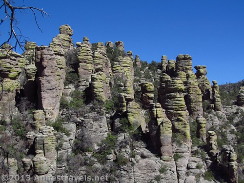 A peek-a-boo view of rock spires on the Echo Canyon Trail, Chiricahua National Monument, Arizona