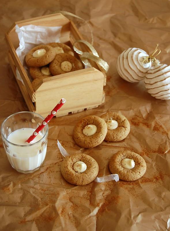 White chocolate ginger buttons / Biscoitinhos de gengibre com chocolate branco