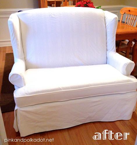 white settee slipcover