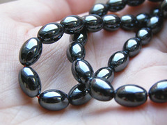 Hematite polished. Bead-rice