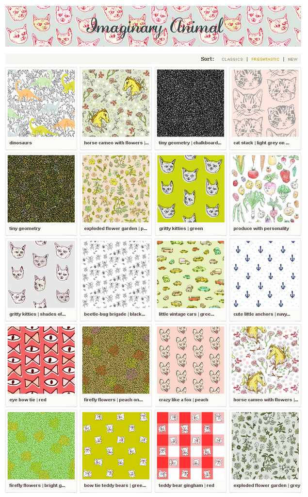 spoonflower shop screenshot imaginary animal