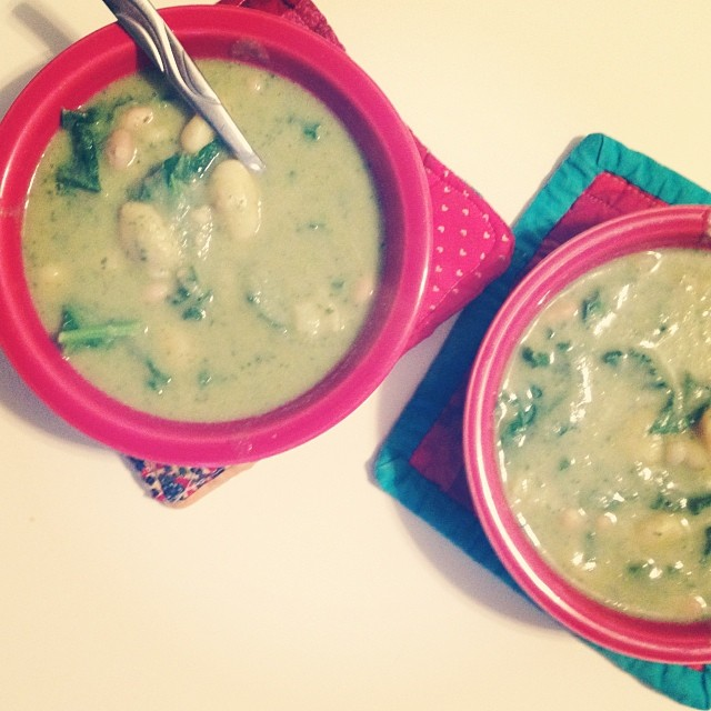 Pesto soup, with gnocchi, beans & greens. Yum. #vegan recipe by @Isachandra, of course