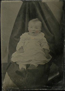 Baby Held by Hidden Mother Under a Shroud - Tintype
