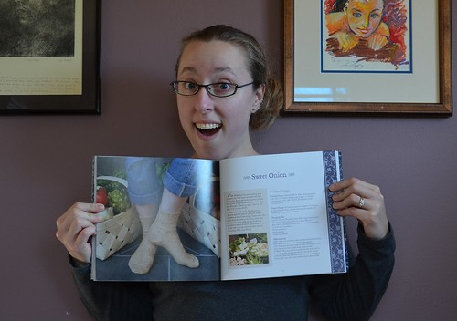Me with my American Sock Knitting book