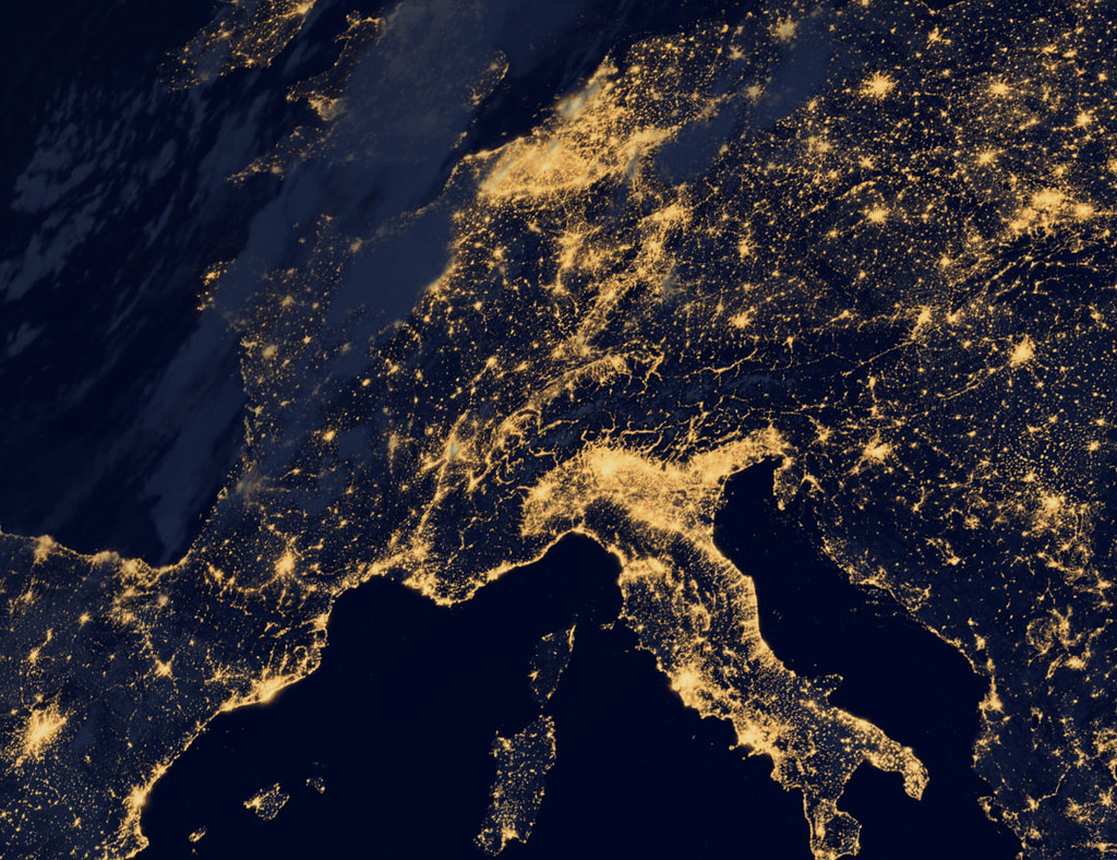 European Union Night Earth Map Nasa Stock Illustration 70309810 ...