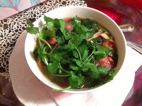 Very happy with this pork soup that I made for mom tonight #thisissoupweather