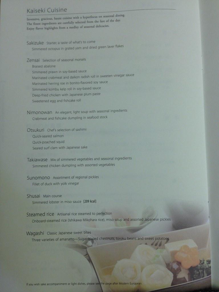 Kaiseki cuisine choices