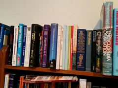book shelf of computing books and aviation