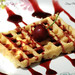 Waffle with cherry