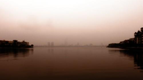 life street lake water reflections lumix dawn vietnam westlake hanoi
