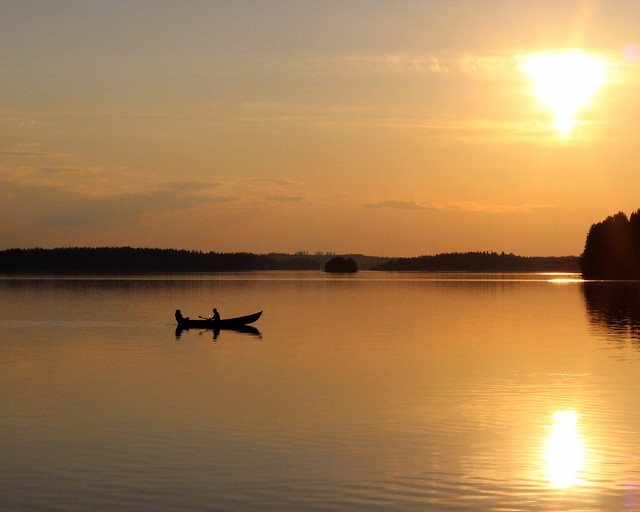 Boat, sunset, Kivijärvi