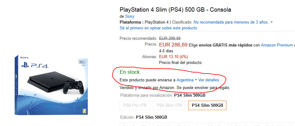 comprar ps4 en amazon desde argentina