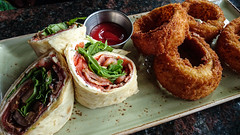 Cured Salmon BLT Wrap with Onion Rings