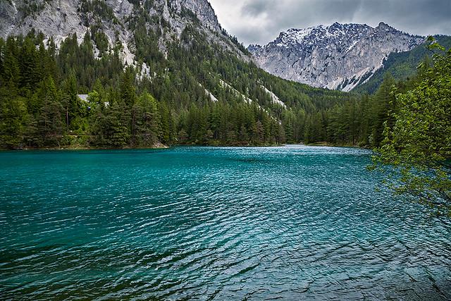 Green lake in Tragöß in Styria, Austria.