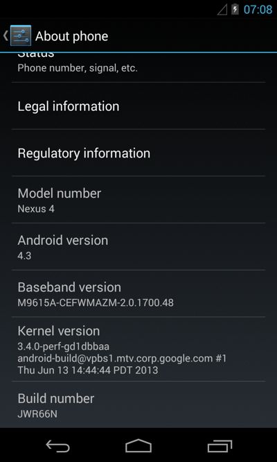 Android 4.3 для Nexus 4