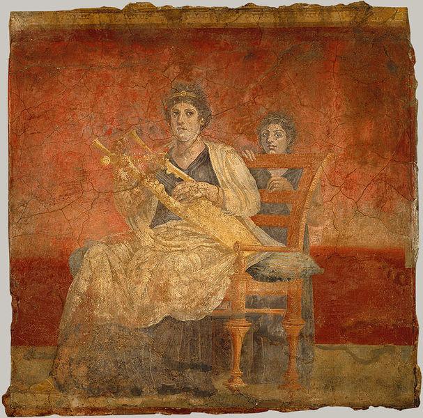 Fresco que representa una mujer tocando una kithara. Autor, Ranveig