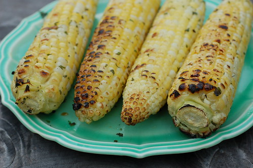 Herby grilled corn by Eve Fox, the Garden of Eating blog, copyright 2013
