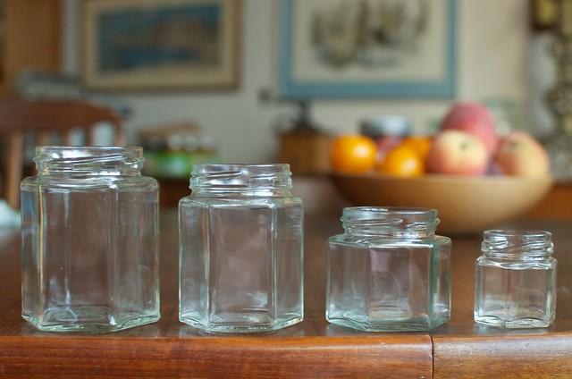 four sizes of hex jars