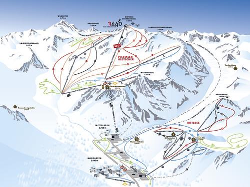 Pitztaler Gletscher - mapa sjezdovek
