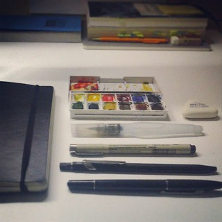 Getting ready for tomorow  #sketch #kit #gear #watercolor #pen