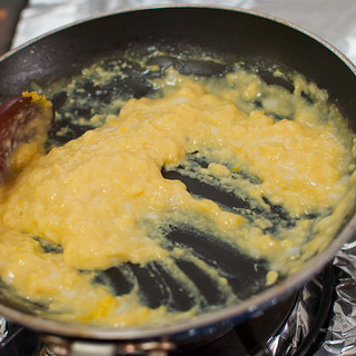 scrambled eggs in the making