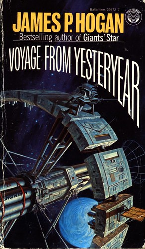 Voyage from Yesteryear by James P. Hogan. Del Rey 1982. Cover artist Darrell K. Sweet