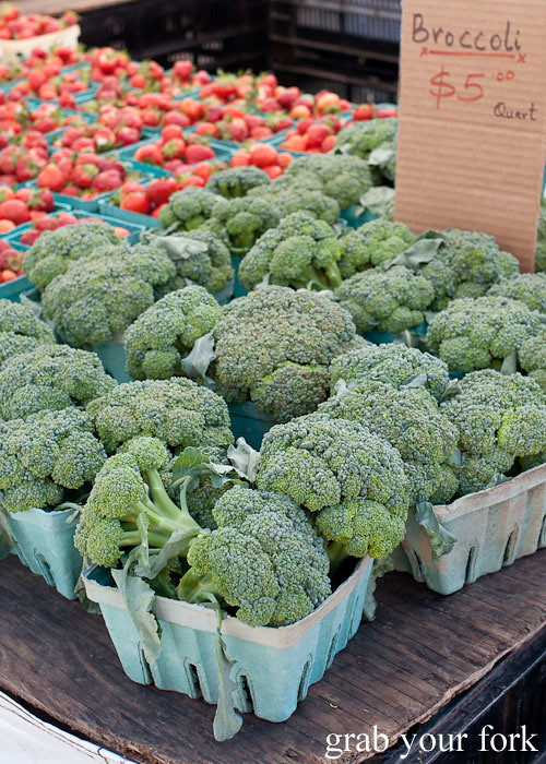fresh broccoli at union square greenmarket farmers market nyc new york usa