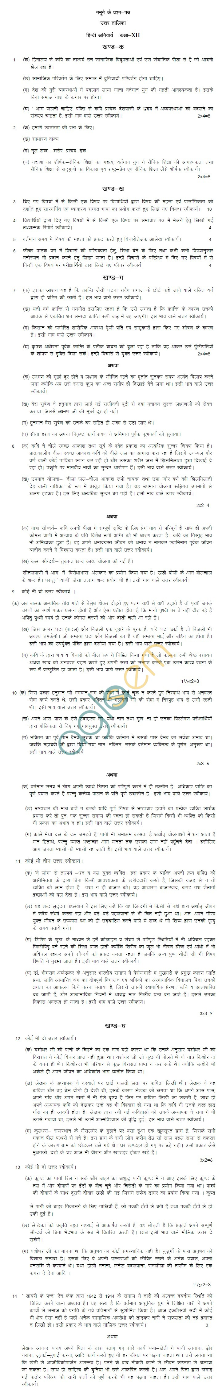 Rajasthan Board Class 12 Hindi Com  Model Question Paper