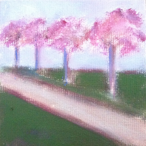 Row of Trees (Mini-painting as of October 9, 2013) by randubnick
