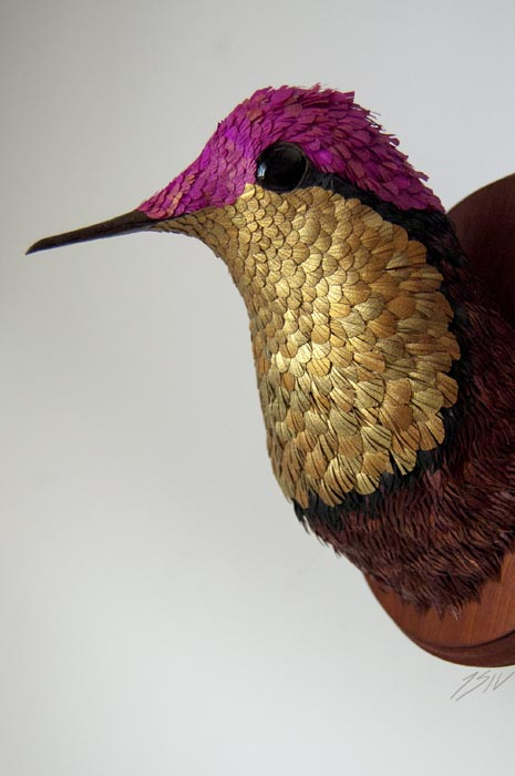 Paper Sculpture Fiery Topaz Hummingbird