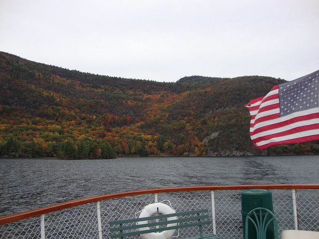 Lake George autumn colors from the boat