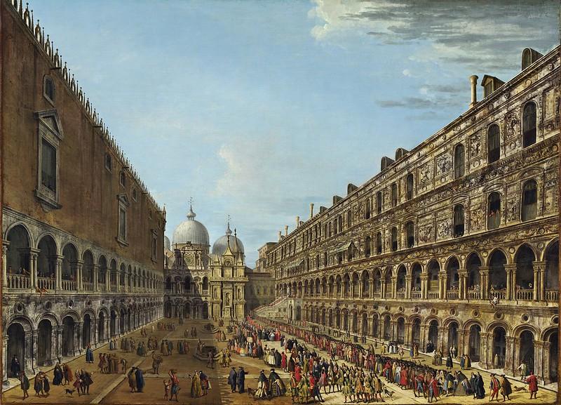 Antonio Joli - Der Auszug des Nuntius Stoppani aus dem Dogenpalast nach seiner Audienz (18th April 1741)