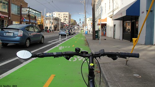 Biking the Broadway cycle track