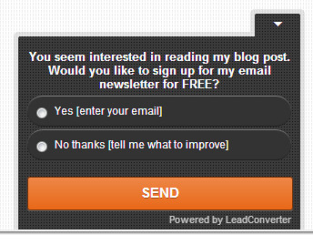 Using Lead Converter to increase visitor's engagement and generate leads