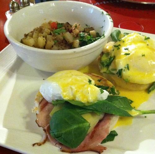 Eggs sardou and skillet potatoes