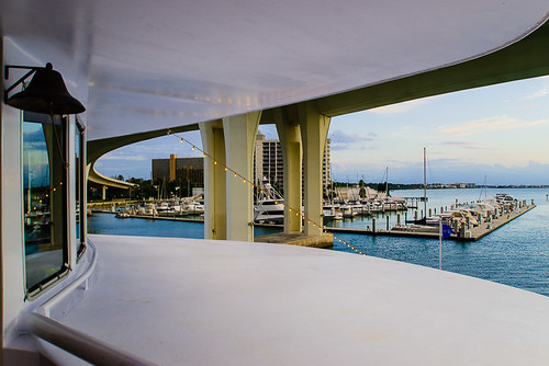 Perspective from the bow of Clearwater Memorial Causeway Bridge from StarShip Clearwater Harbor Marina