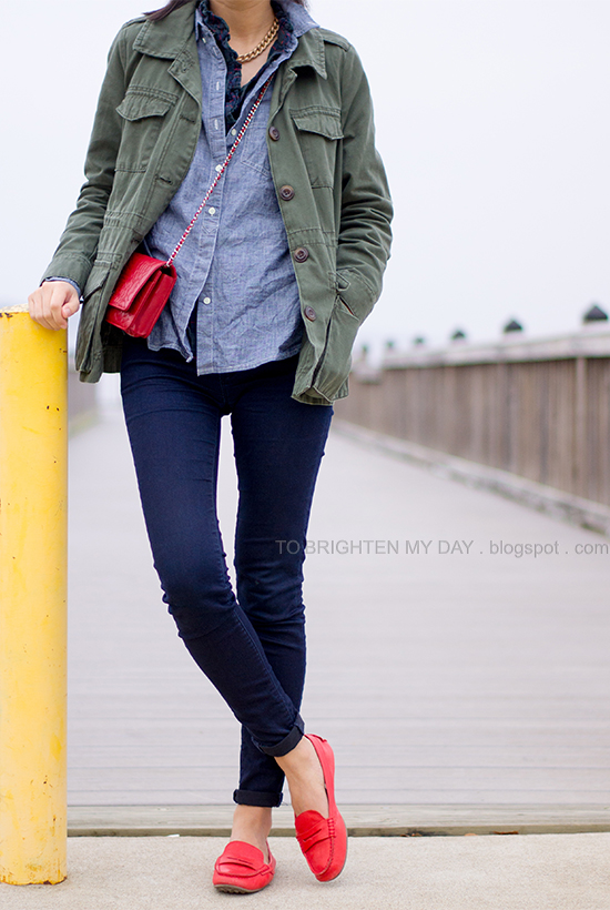 military jacket, chambray + plaid shirts, red loafers