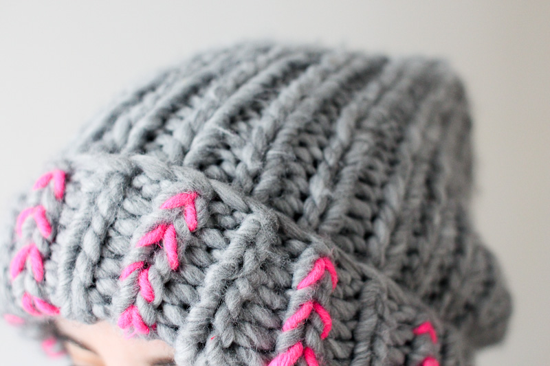 DIY neon chevron on knitted hat