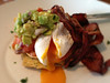 Corn fritters, poached egg, smoked salmon, avocado & bacon