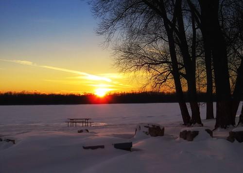 winter sunset snow reflection river grandriver dunnville powerofart inspiringcreativeminds