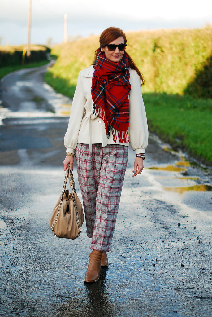 Tartan scarf & trousers, white coat