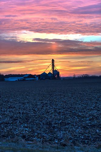 rio wisconsin rural sunrise unitedstates farm scenic sunpillar grainmill ©jrj
