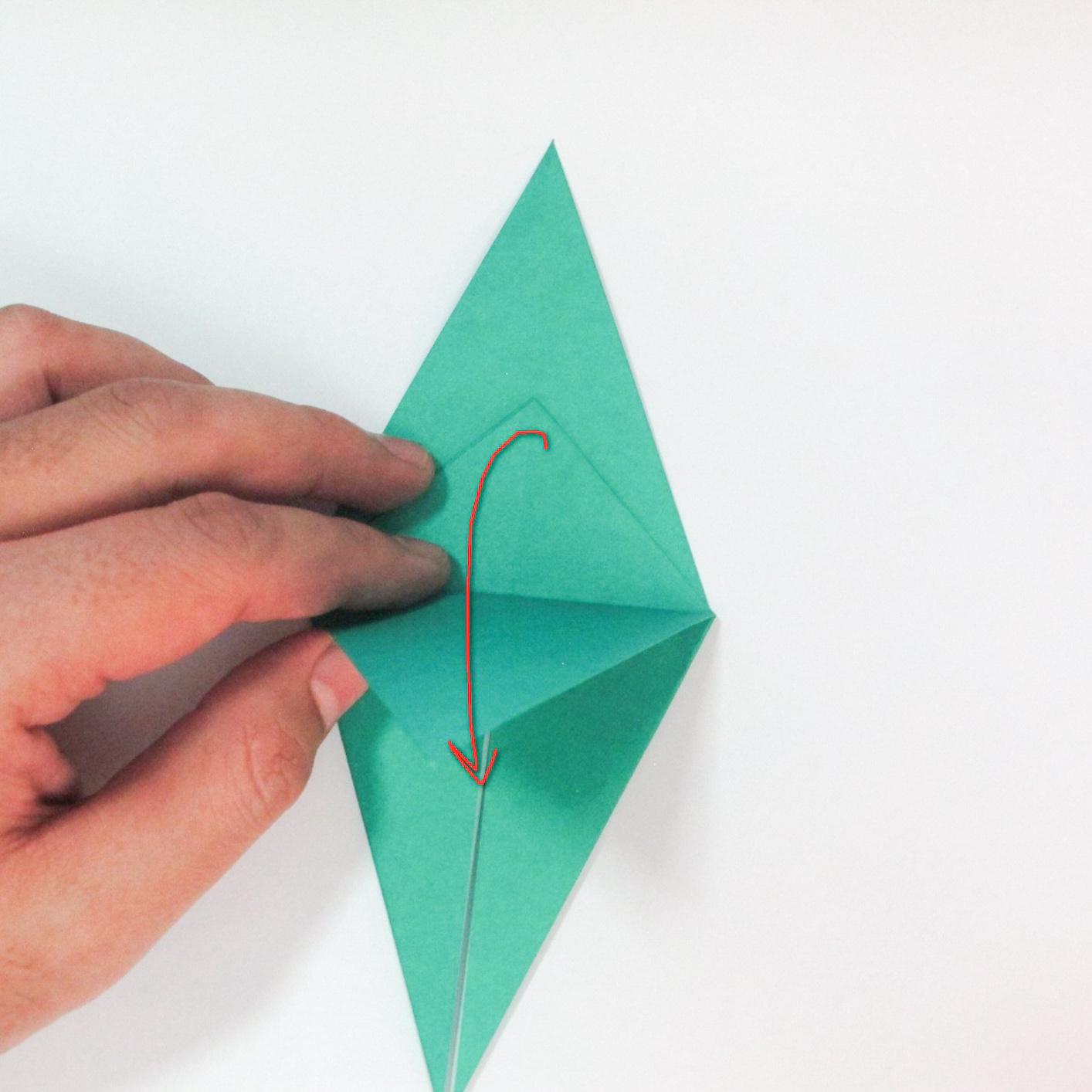 สอนวิธีการพับกระดาษเป็นรูปปลาฉลาม (Origami Shark) 017