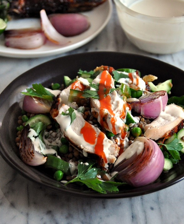 Roast Chicken & Lentils Salad with Garlic-Tahini Dressing | www.fussfreecooking.com