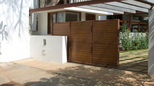 pintu pagar minimalis kayu images